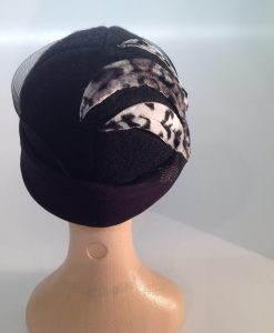 Snow Leopard Textured Boiled Wool Cloche