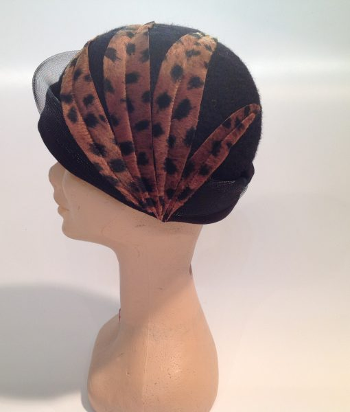 Leopard Textured Boiled Wool Cloche