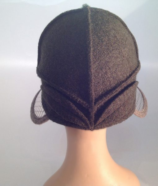 Boiled wool hat with plastic visor veil - rear view
