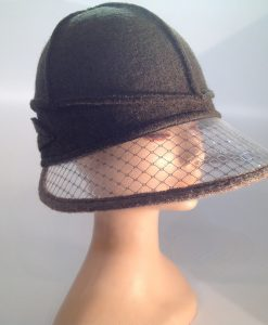Boiled wool hat with plastic visor veils - side view