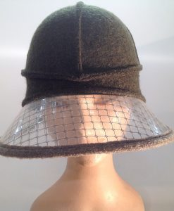 Boiled wool hat with plastic visor veil - frontal view