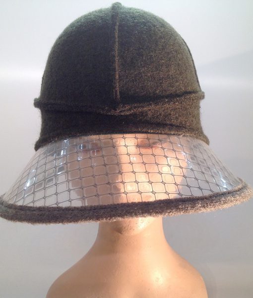 Boiled wool hat with plastic visor veil – frontal view
