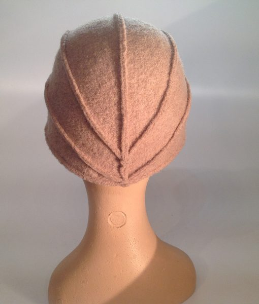 boiled wool cloche with plastic visor veil and leather applications - rear view