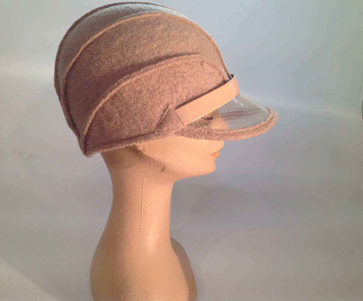 829ff89c490 Boiled Wool Cloche with Plastic Visor Veil (+leather) - Atelier ...