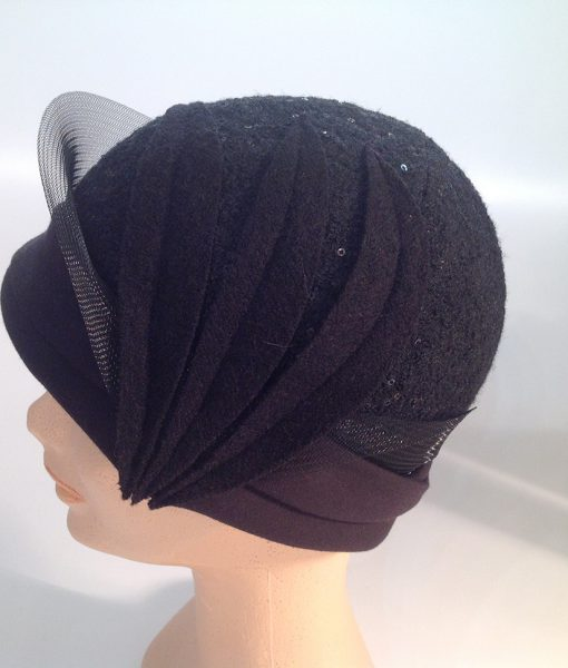 jersey cooked cloche with micro sequins, applications and crinoline – side view