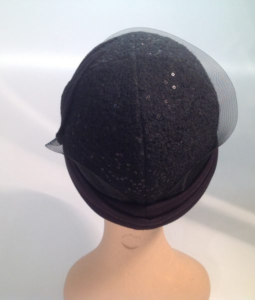 jersey cooked cloche with micro sequins, applications and crinoline - rear view