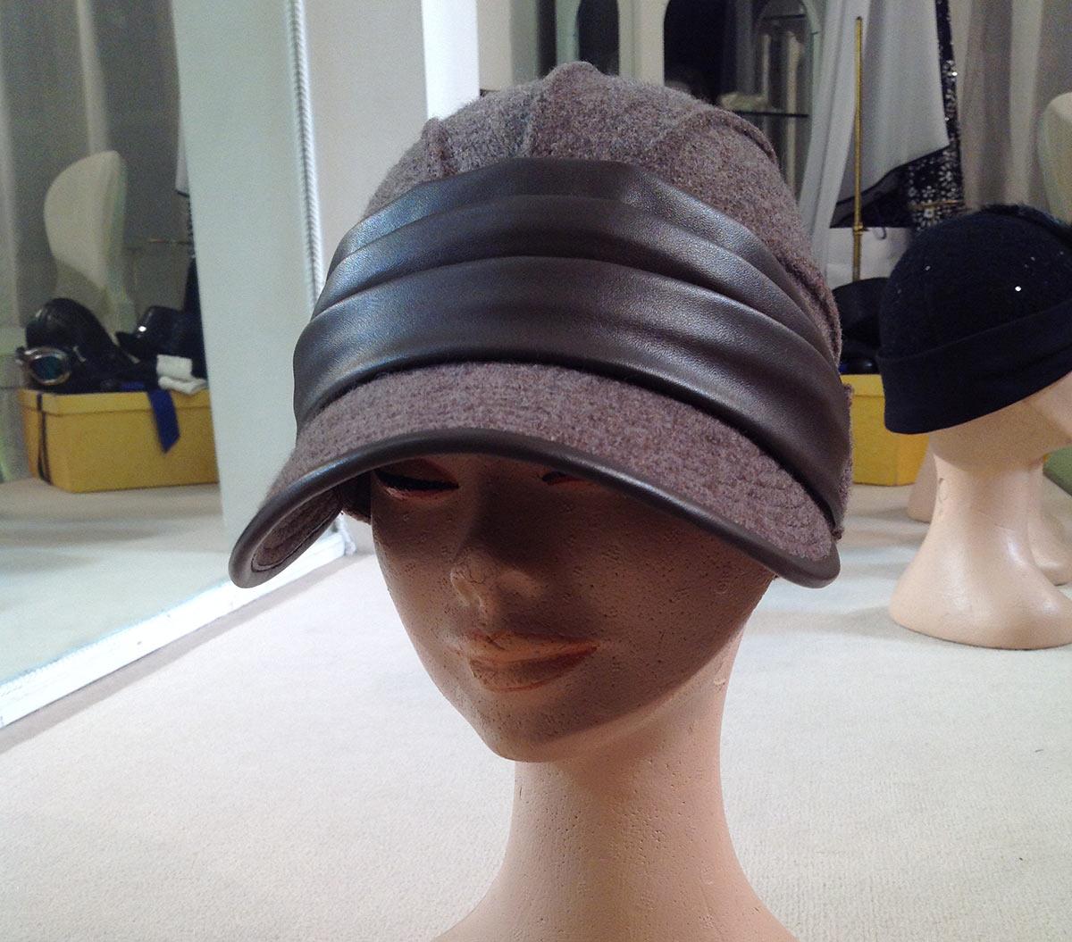 9eb967b0f98 Boiled Wool Cloche with Leather - Atelier Alberto Lusona - Cloche ...